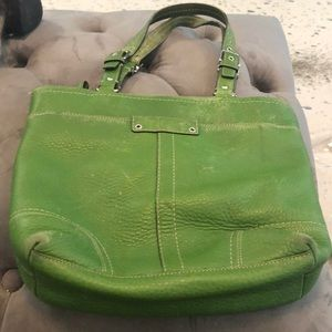 - Spring Green Pebbled Leather Coach satchel